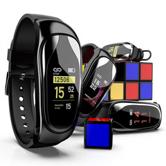 MK01 heart rate meter step waterproof information push health data smart watch bracelet black one size