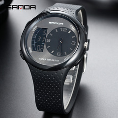 new fashion trend waterproof luminous men's business sports electronic watch black one size