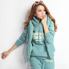 Autumn and winter casual suit for women hooded sports suit for fashionable velvet three-piece suit light green l