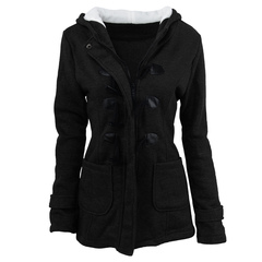 Women's autumn and winter new horn button coat women's thickened long hooded wool jacket jacket black l