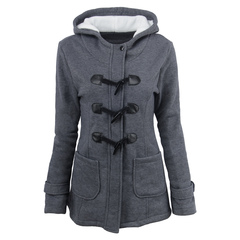 Women's autumn and winter new horn button coat women's thickened long hooded wool jacket jacket dark gray xxl