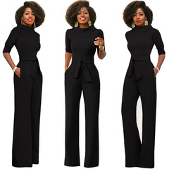 New women's sexy pure color slanted shoulder button jumpsuit multi-color black s