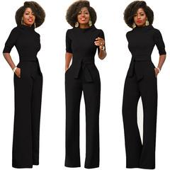 New women's sexy pure color slanted shoulder button jumpsuit multi-color black m