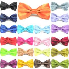 MIBO Double Cloth Bow Tie Men's Business Dress Bow Tie Pure Color Korean Style Bow CL-1 black 12.5*6.5cm