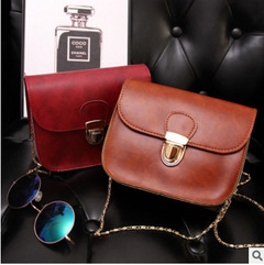 MIBO New Korean Style Square Bag Women's Single Shoulder Bag Mobile Bag with Fashion Chain red 17*7*14cm