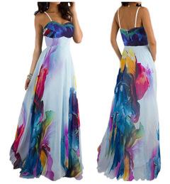 MIBO Women's Braces Skirt Slip Dress Tube Top Skirt Off-the-shoulder Dress with Digital Printing xxl printing