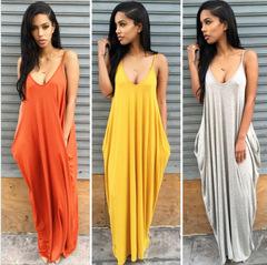MIBO New Women's Braces Skirt Loose Tube Dress Long Pocket Skirt orange xl