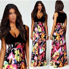 MIBO New Printing Long Skirt Deep V-necked Sleeveless Dress xxl black