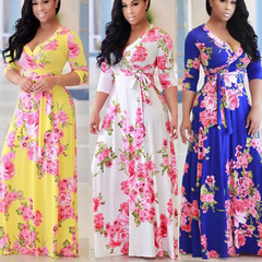 MIBO 2019 Women's Summer V-neck Printing Large Pendulum Dress Skirt blue xxl