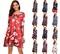 MIBO Hot Selling 2018 Christmas Printing Dress Multi-flower Colorful Skirt Christmas Man Lucky Star l red