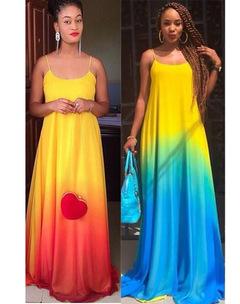MIBO Summer Women's Fashion Braces Dress Colorful Skirt red m