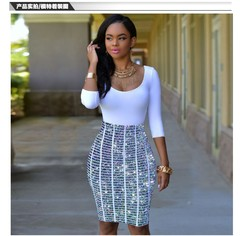 MIBO 3D Digital Printing Dress Thin Sleeve Hip-wrapped Sexy Nightclub Dress 2xl FM3