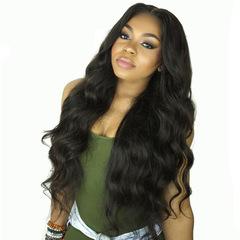 MIBO Fashion Long Curly Hair Wig Female High-temperature Silk African Black Women's Wave Wigs black long