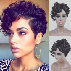 MIBO European-American Men's and Women's General Short Curly Wig African Black Small Curly Hair Wig black short