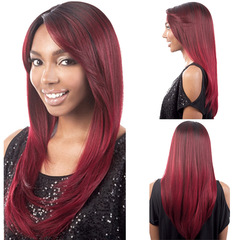 MIBO Women's Fashion Long Straight Hair Wine Red Color Synthetic Wig Head Set wine red long