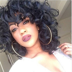 MIBO New Lady Natural Realistic Loose Curly Hair Wig African Black Wigs Short Curly Hair Wigs Gold 14inch
