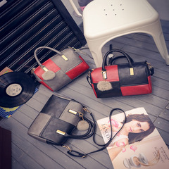 MIBO New Boston Fashion Women's Bag Handbag with Single Shoulder Slant Pillow Bag red-grey general