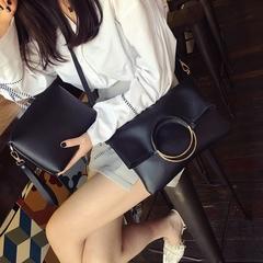 MIBO  2 Pcs New Korean Round Ring Type Women's Single Shoulder Bag Fashion Simple Retro Folding Bag red 29*4*32CM