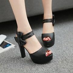 MIBO Women's Platform High Heel Sandals with Open Toe Ankle Straps Bow Party Dress Pumps Shoes Black 35