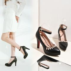 MIBO Women's PU Mary Jean Stiletto High Heel Almond-toe Pumps Single Strap Crystal Pearl Pendant Black 34