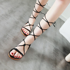 MIBO 2019 New Summer Women's Rome Sandal Shoes Synthetic Flat Heel Crossed Lace Up Sandals black 35