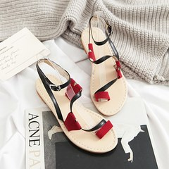 MIBO Women's Summer Synthetic Flat Heel Thong Sandal Shoes Flip Flops black 39