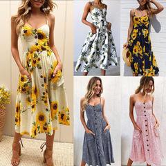 MIBO 2019 New Summer Sunflower Pineapple Pattern Printing Sexy Dress Multi Color m 0665-Yellow
