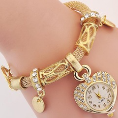 MIBO Woman's Bracelet Watch Golden Silver Peach Heart Bracelet Watch Gift Silver as pic