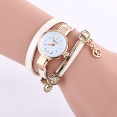 MIBO Women Leather Rhinestone Decorative Wristwatches Ladies Pendant Quartz Watches white one size