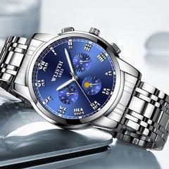 MIBO New Steel Belt Business Waterproof Watch Men's Fashion Night Light Watch Quartz Watch 6#silver-black-leather 13*8*9CM