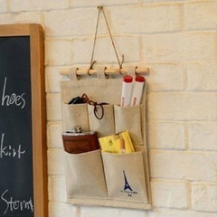 MIBO Cotton and Hemp Tower Storage 5 Pocket Hanging Bag Wall-mounted Bag Fabric Clutter Storage onesize