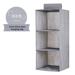 MIBO Cloth Art Receiving Storage Box 3 Layer / Single Layer Home Living Storage Organization Bag gray 3 layer (27*27*60cm)