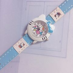 MIBO Hello Kitty Watch Cute KT Cat  Cartoon Watches Kid Girls  Cartoon Watch for Children sky blue general