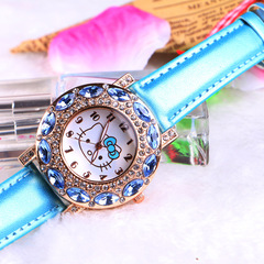 MIBO Children's Gift Watch Cartoon Student Kt Cat Watch HELLO KITTY Girl Watch sky blue as pic