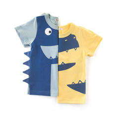 MIBO Summer Children's Clothing Boys T-shirt Handsome Baby Clothes Children's Short Sleeves green 90cm(height) ordinary