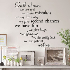 MIBO English Proverbs In This House Living Room Bedroom Background Wall Stickers Decorative Painting 57*29cm
