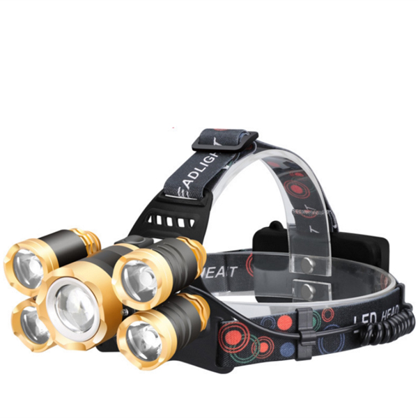 NWR LED Headlamp Zoomable 15000Lm XR7 Head Flashlight Torch Sensor Rechargeable Head Light Forehead Golden normal