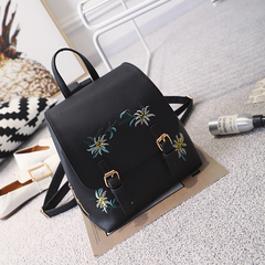 2018 New Fashion Japanese style PU Leather Embroidered Backpack Bags for Girls Office Lady and Women black 24×14×27cm