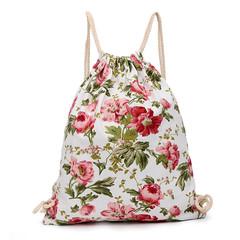 Fashion Printed Flowers Drawstring Bag Girls Canvas Hang Sack Women Travel Shopping Storage Backpack red 31×1×35cm