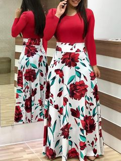 2019 European and American style flower print color matching dress long sleeve short sleeve s Long sleeve-Red white