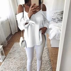 2019 Women's Summer New Sexy Strap V-neck Loose Long Sleeve T-Shirt Shirt White M