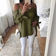 2019 Women's Summer New Sexy Strap V-neck Loose Long Sleeve T-Shirt Shirt Green XL