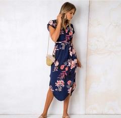 2019 Hot dress, Sexy V-neck print, Mid-length dress xxxl Blue