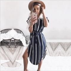 2019 Hot dress, Sexy V-neck print, Mid-length dress xxxl Striped color