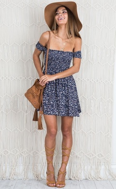 Summer small floral sexy wrapped chest print short skirt floral Dress m blue
