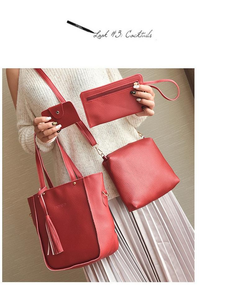 61dfabbb1511 Women Bag Tassel Handbag Purse Ladies PU Leather Crossbody Bag 4Pcs ...
