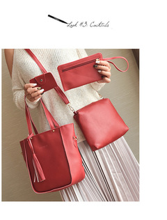 Women Bag Tassel Handbag Purse Ladies PU Leather Crossbody Bag 4Pcs/Set red one size