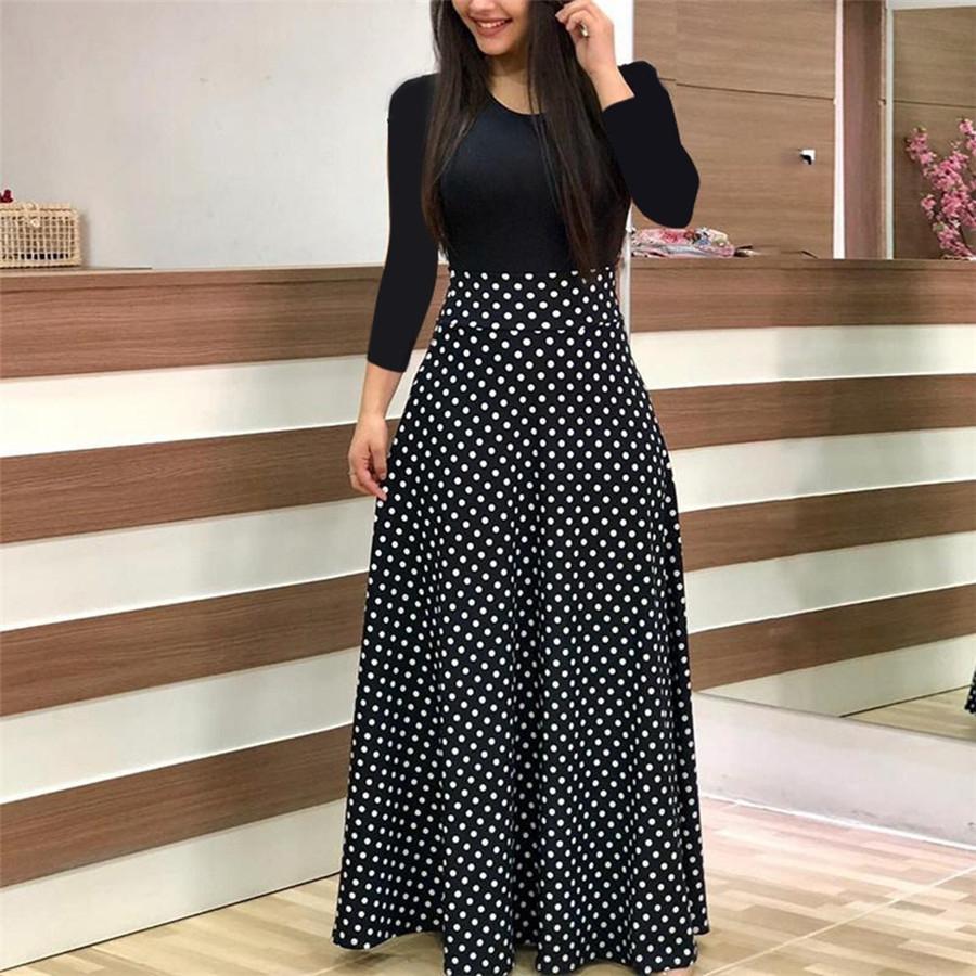 2018 summer new women's flowers, prints, coloured dress, long skirts XXL green Long sleeve 15