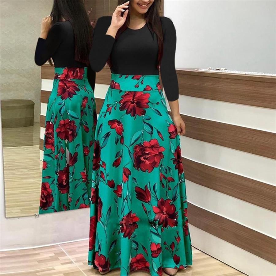 2018 summer new women's flowers, prints, coloured dress, long skirts XXL green Long sleeve 14