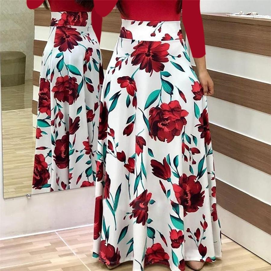 2018 summer new women's flowers, prints, coloured dress, long skirts XXL green Long sleeve 13